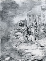 Leonaert Bramer Marcus Curtius Leaping into the Abyss on his Horse