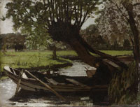 Matthijs Maris Boat with a Pollard Willow
