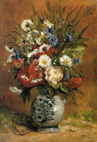 Paul Gauguin Daisies and Peonies in a Blue Vase