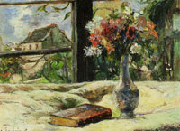 Paul Gauguin Vase of Flowers and Window
