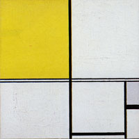 Piet Mondrian Composition B, with Double Line and Yellow and Gray