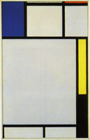 Piet Mondrian Composition with Blue, Red, Yellow, and Black