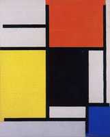 Piet Mondrian Composition with Red, Yellow, Black, Blue, and Gray