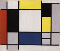 Piet Mondrian Composition with Yellow, Red, Black, Blue and Gray