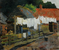 Piet Mondriaan Farmhouse with Wash on the Line