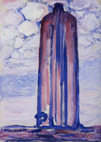 Piet Mondriaan Lighthouse at Westkapelle with Clouds