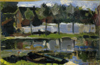 Piet Mondriaan Narrow Farm Building and Trees along the Water