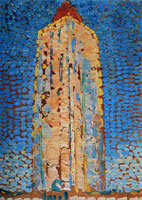 Piet Mondriaan - Summer Morning: Lighthouse at Westkapelle in Orange
