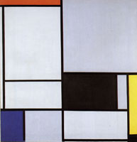 Piet Mondrian Tableau II, with Red, Black, Yellow, Blue, and Light Blue
