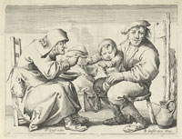 Pieter Quast A Peasant with a Woman, and a Child on His Lap