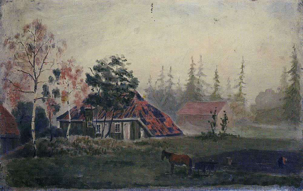 Edvard Munch - Horse and Wagon in Front of Farm Buildings