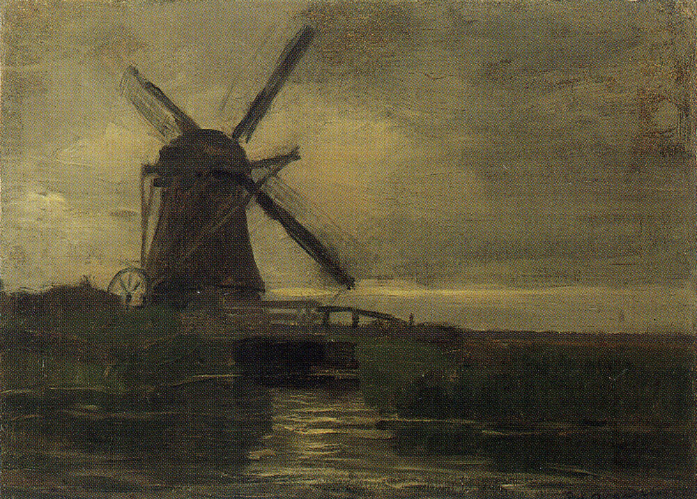 Piet Mondriaan - Broekzijder Mill in the Evening