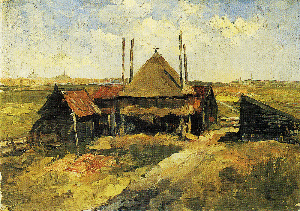 Piet Mondriaan - Haystack and Farm Sheds in a Field