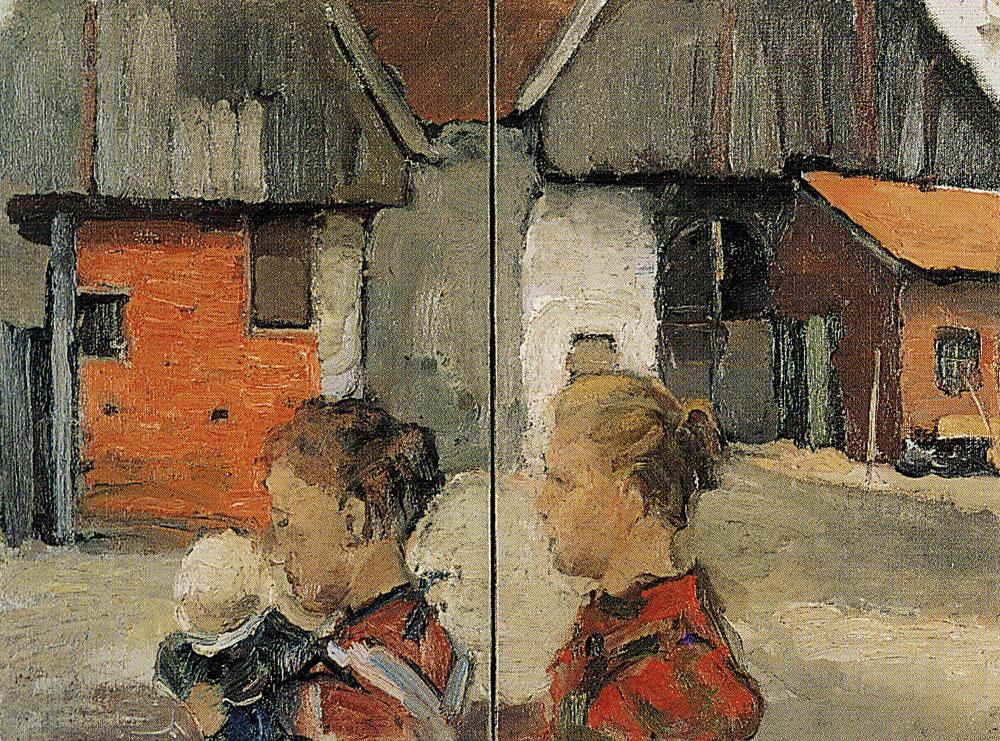 Piet Mondriaan - Rear Gables of Farm Buildings with Figures