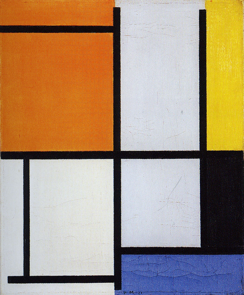 Piet Mondrian - Tableau 3, with Orange-Red, Yellow, Black, Blue, and Gray