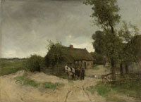 Anton Mauve Cottage on a Sandy Path