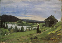 Edvard Munch Landscape with Woman and Child