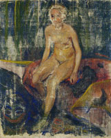 Edvard Munch Seated Nude and Grotesque Masque