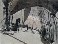 John Singer Sargent Deck of a Ship in Moonlight