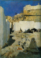 John Singer Sargent Moroccan Fortress, with Three Women in the Foreground