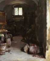 John Singer Sargent Pressing the Grapes: Florentine Wine Cellar