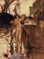 John Singer Sargent Two Nude Figures Standing on a Wharf