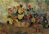 Paul Gauguin Nasturtiums and Dahlias in a Basket