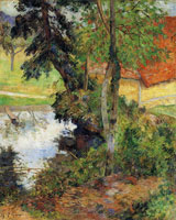 Paul Gauguin Red Roof by the Water