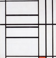Piet Mondrian Composition No. 1, with Gray and Red