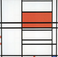 Piet Mondrian Composition No. 4, with Red and Blue