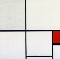 Piet Mondrian Composition C, with Gray and Red