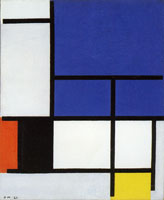 Piet Mondrian Composition with Large Blue Plane, Red, Black, Yellow, and Gray