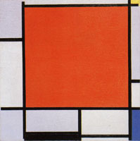 Piet Mondrian Composition with Large Red Plane, Bluish Gray, Yellow, Black, and Blue