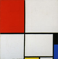 Piet Mondrian Composition with Red, Black, Blue, and Yellow
