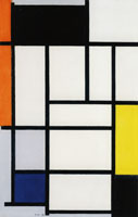 Piet Mondrian Composition with Red, Black, Yellow, Blue, and Gray