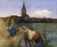 Piet Mondriaan Farm Scene with the St. Jacob's Church