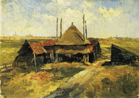 Piet Mondriaan Haystack and Farm Sheds in a Field