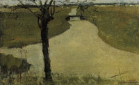 Piet Mondriaan Irrigation Ditch with Young Pollarded Willow
