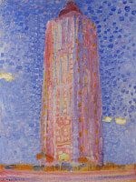 Piet Mondriaan Lighthouse at Westkapelle in Pink