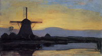 Piet Mondriaan Oostzijdse Mill with Extended Blue, Yellow and Purple Sky