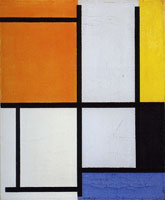 Piet Mondrian Tableau 3, with Orange-Red, Yellow, Black, Blue, and Gray