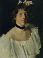 William Merritt Chase Portrait of a Lady in a White Dress