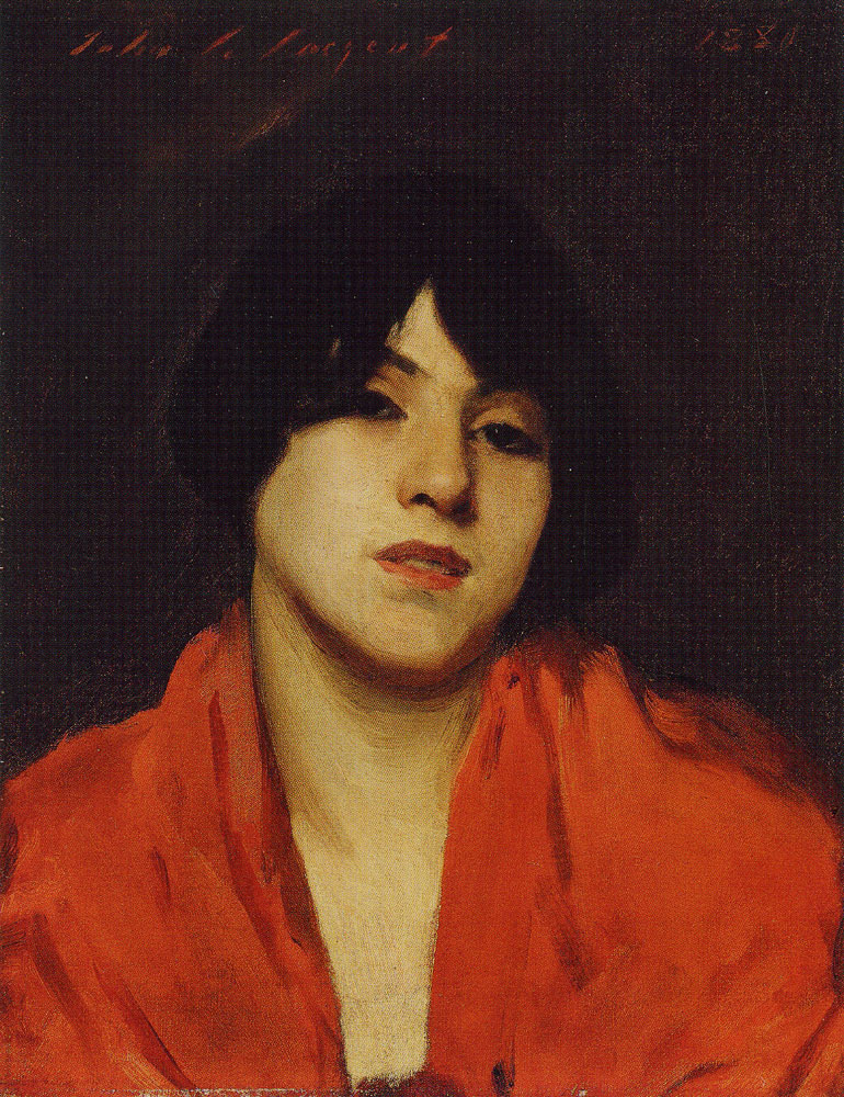 John Singer Sargent - Head of a Venetian Model in a Scarlet Shawl