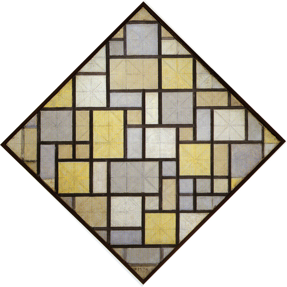 Piet Mondrian - Composition with Grid 5: Lozenge Composition with Colours
