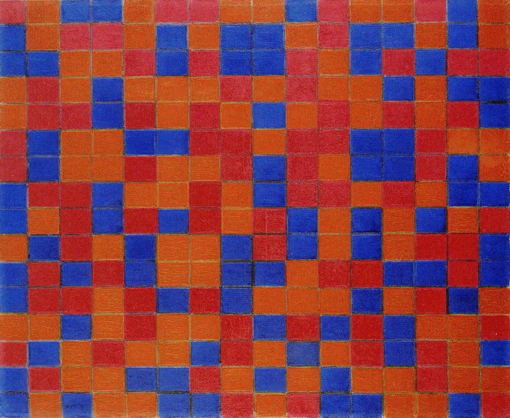 Piet Mondrian - Composition with Grid 8: Checkerboard Composition with Dark Colours