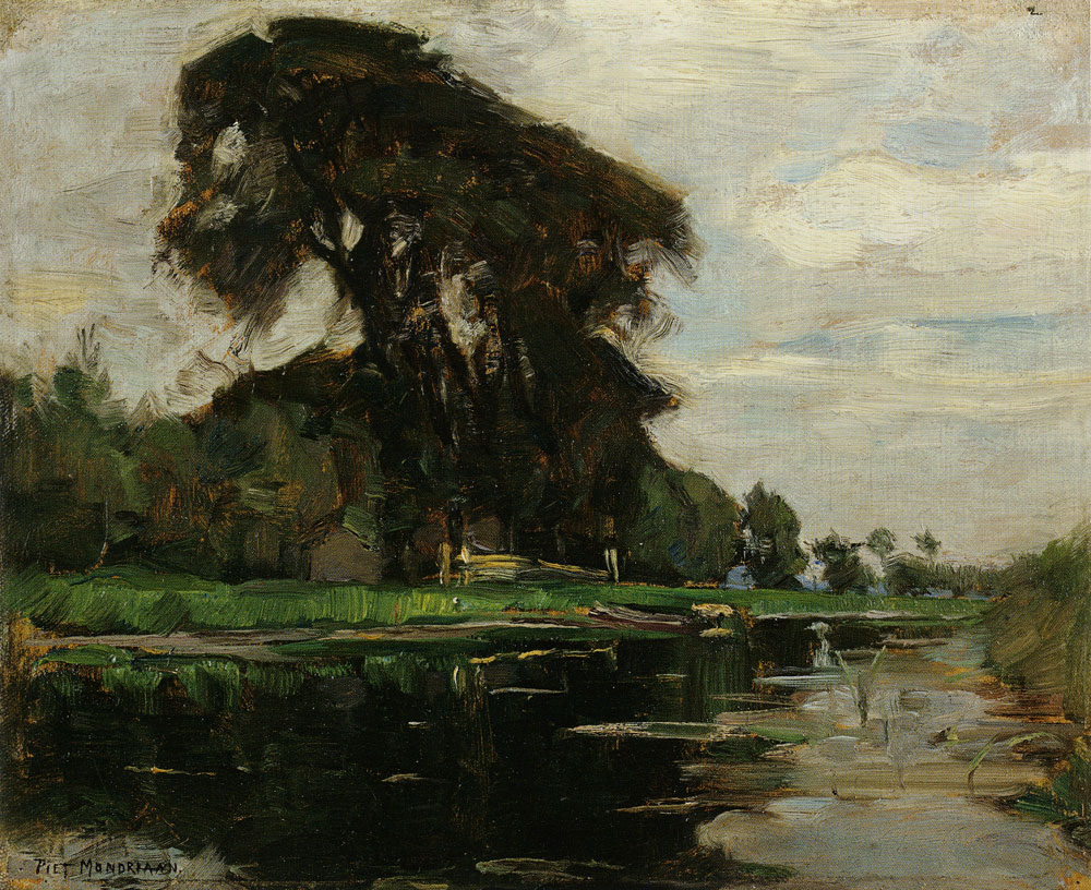 Piet Mondriaan - The Landzicht Farm, Oil Sketch with Fence and Gateposts