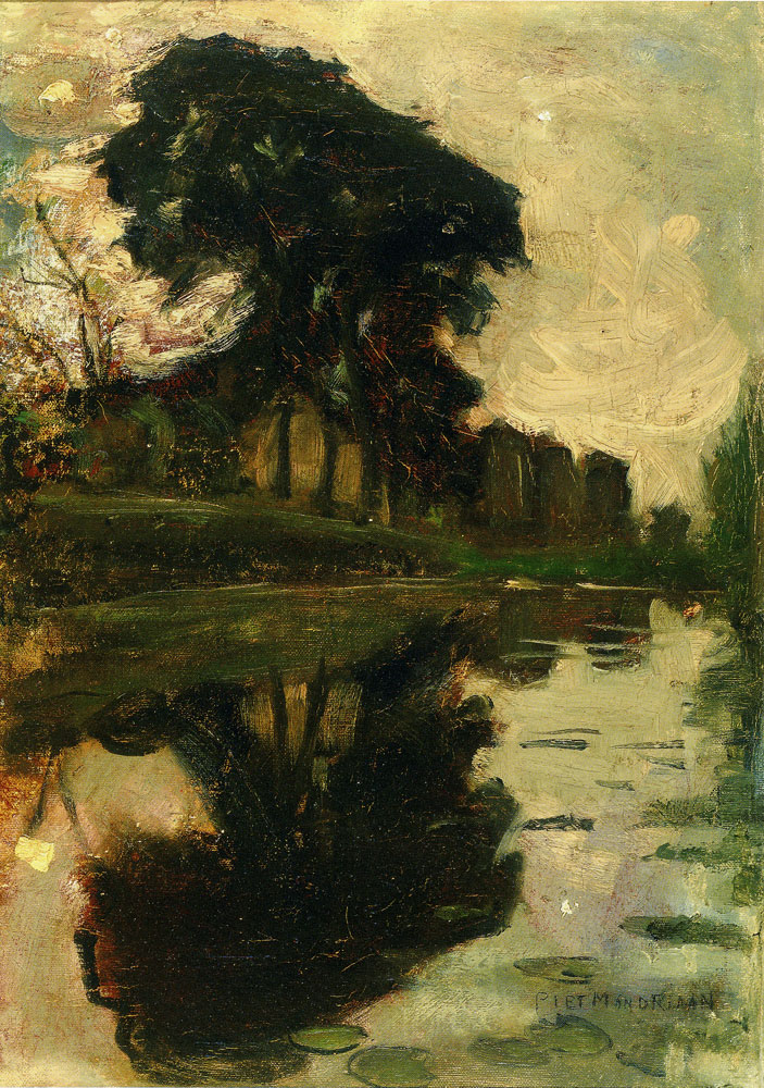 Piet Mondriaan - Landzicht Farm with Reflection in the Water
