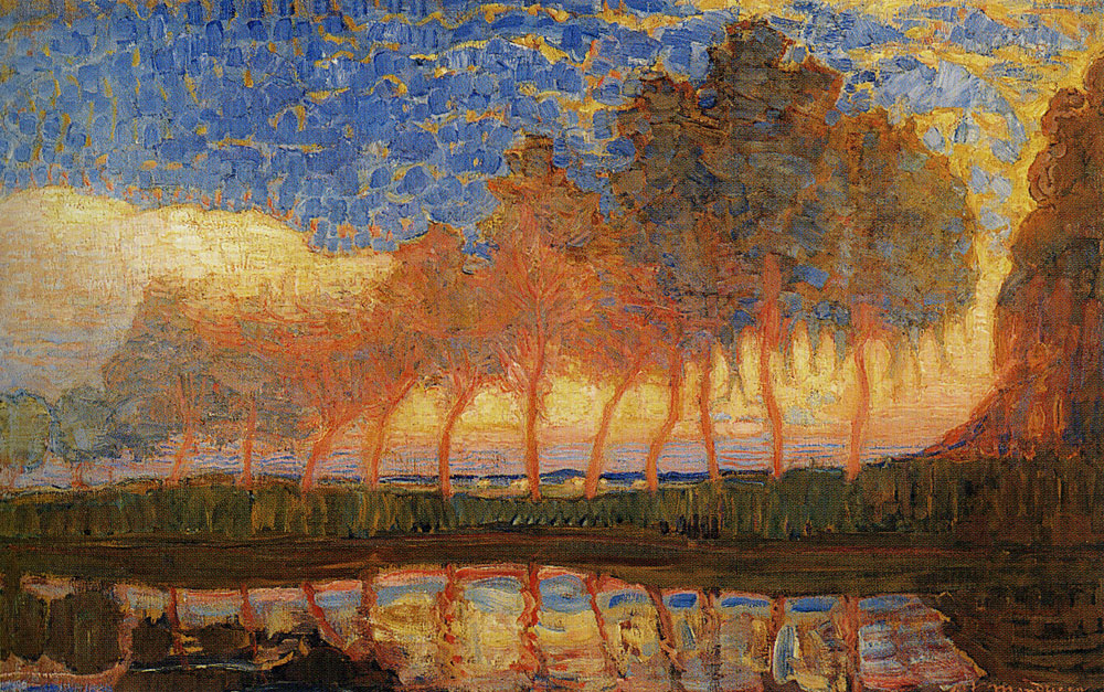 Piet Mondriaan - Row of Eleven Poplars in Red, Yellow, Blue and Green