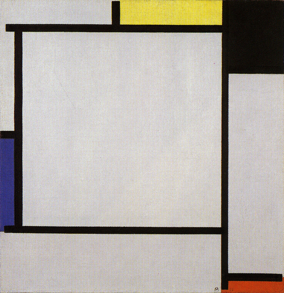 Piet Mondrian - Tableau 2, with Yellow, Black, Blue, Red, and Gray