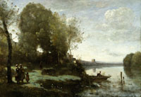 Jean-Baptiste-Camille Corot - River with a Distant Tower